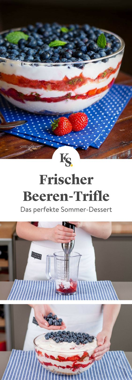 Frischer Beeren-Trifle | Rezept | Kitchen Stories