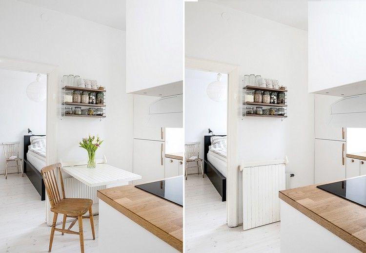 cuisine petit espace amnage avec une table rabattable murale tagre murale et armoires encastres dans le mur