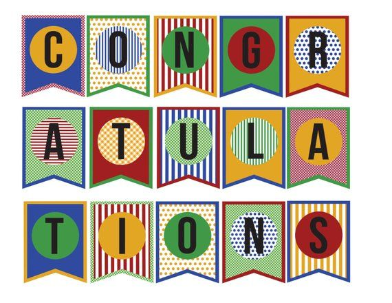 picture about Congratulations Banner Free Printable named Congratulations Banner; Do it yourself paper printable banner
