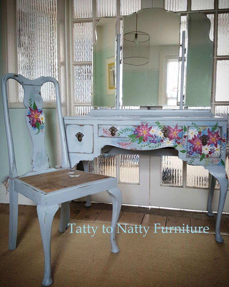 Vintage dressing table - Vintage Dressing Table Chair Blue Shabby Chic Hand Painted Floral Pink White