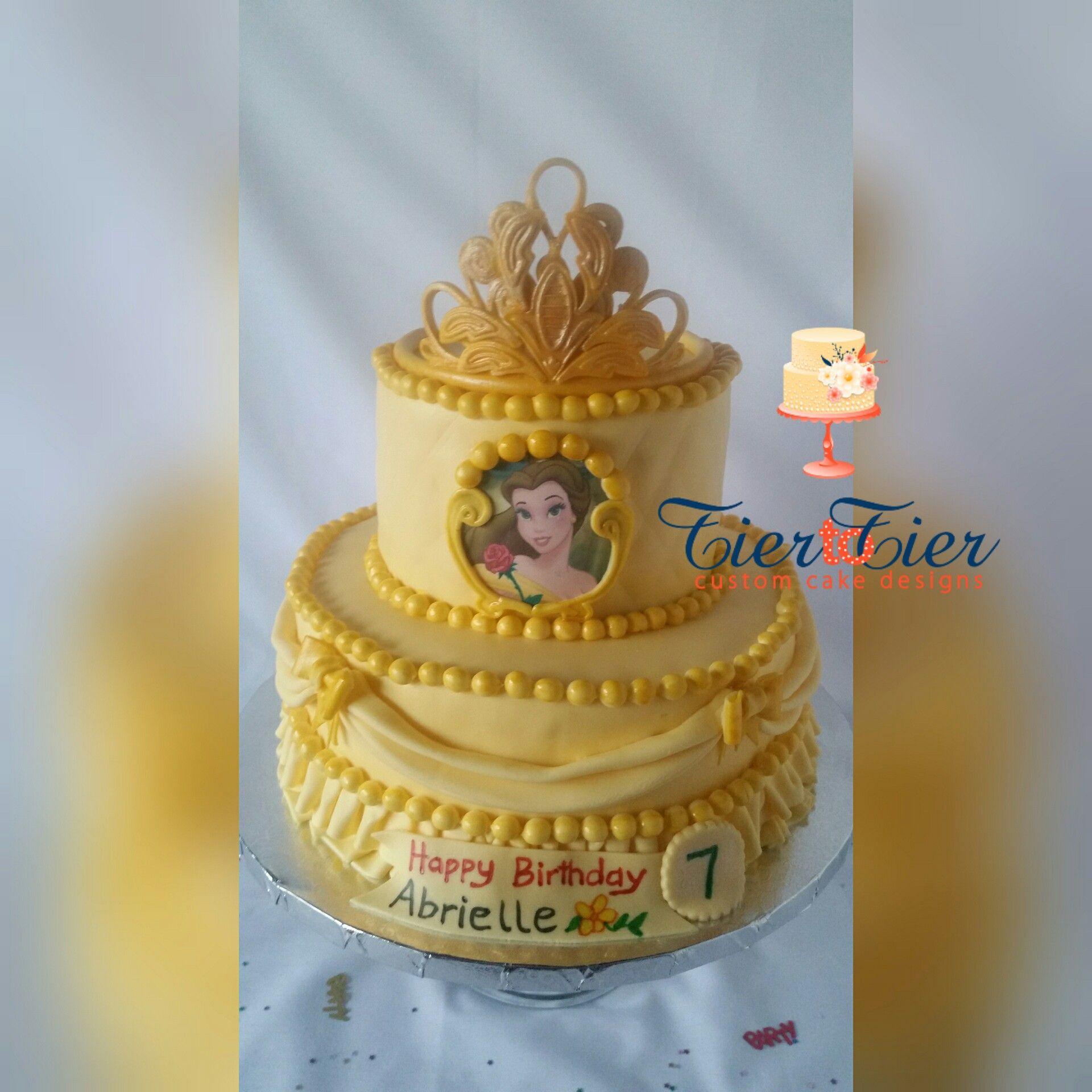 Outstanding Yellow Princess Belle Birthday Cake Two Tier Princess Belle Cake Funny Birthday Cards Online Kookostrdamsfinfo