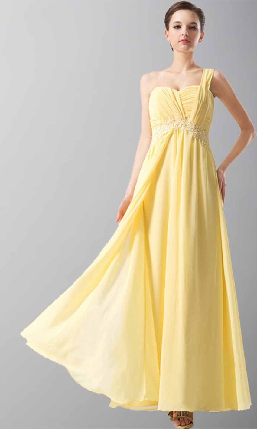 Sweet heart one shoulder yellow long chiffon prom dresses ksp