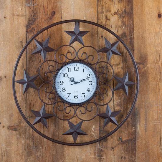 Western Stars Wall Clock Home Decor Western Home Decor Rustic Wall Clocks Ranch Style Decor