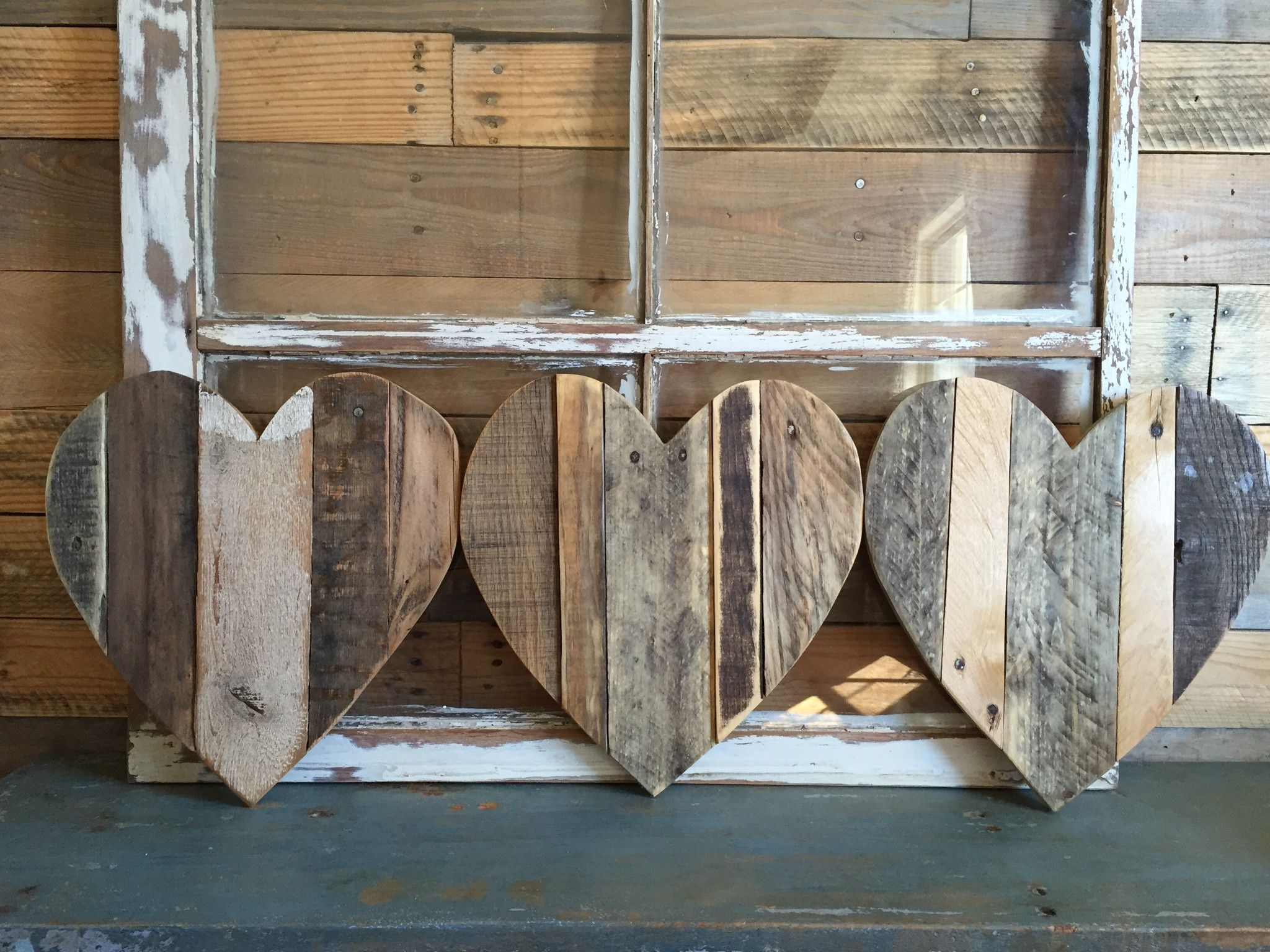 Small Heart Natural Reclaimed Wood Wood Pallets Wood Hearts