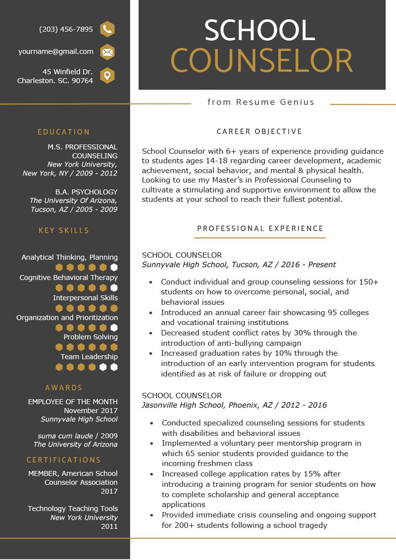 School Counselor Resume Sample Tips Resume Genius Resume Objective Examples Free Resume Template Download School Counselor