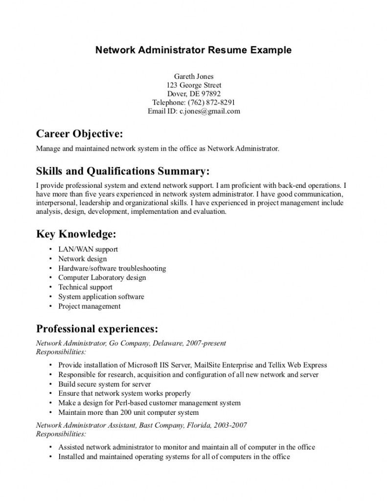 Network Support Engineer Sample Resume System Administrator Resume Objective  Resume Samples  Pinterest
