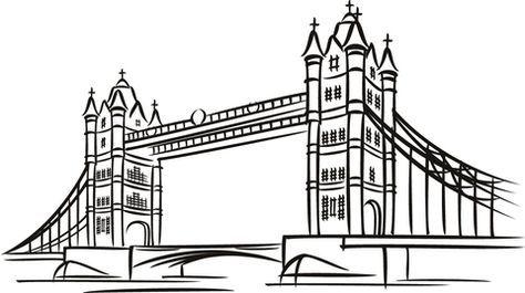 die tower bridge in london ausmalbild com imagens | desenho arquitetônico, ponte de londres