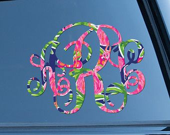 Classy Black Floral Monogram Car Decal Car By ChicMonogram On Etsy - Monogram car decal sticker