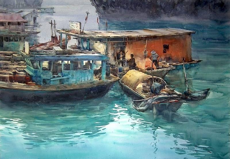 Direk Kingnok Watercolor artist Impression of mine in Ha Long Bay, Vietnam.