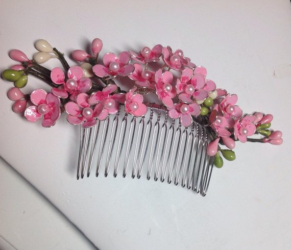 Cherry Blossom Hair Comb Wire Flower Hair Comb Japanese Sakura Flowers In Hair Flower Hair Comb Nail Polish Flowers