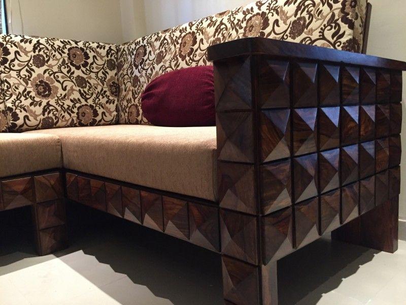 L Shape Wooden Diamond sofa | Wooden sofa, Wood furniture ...