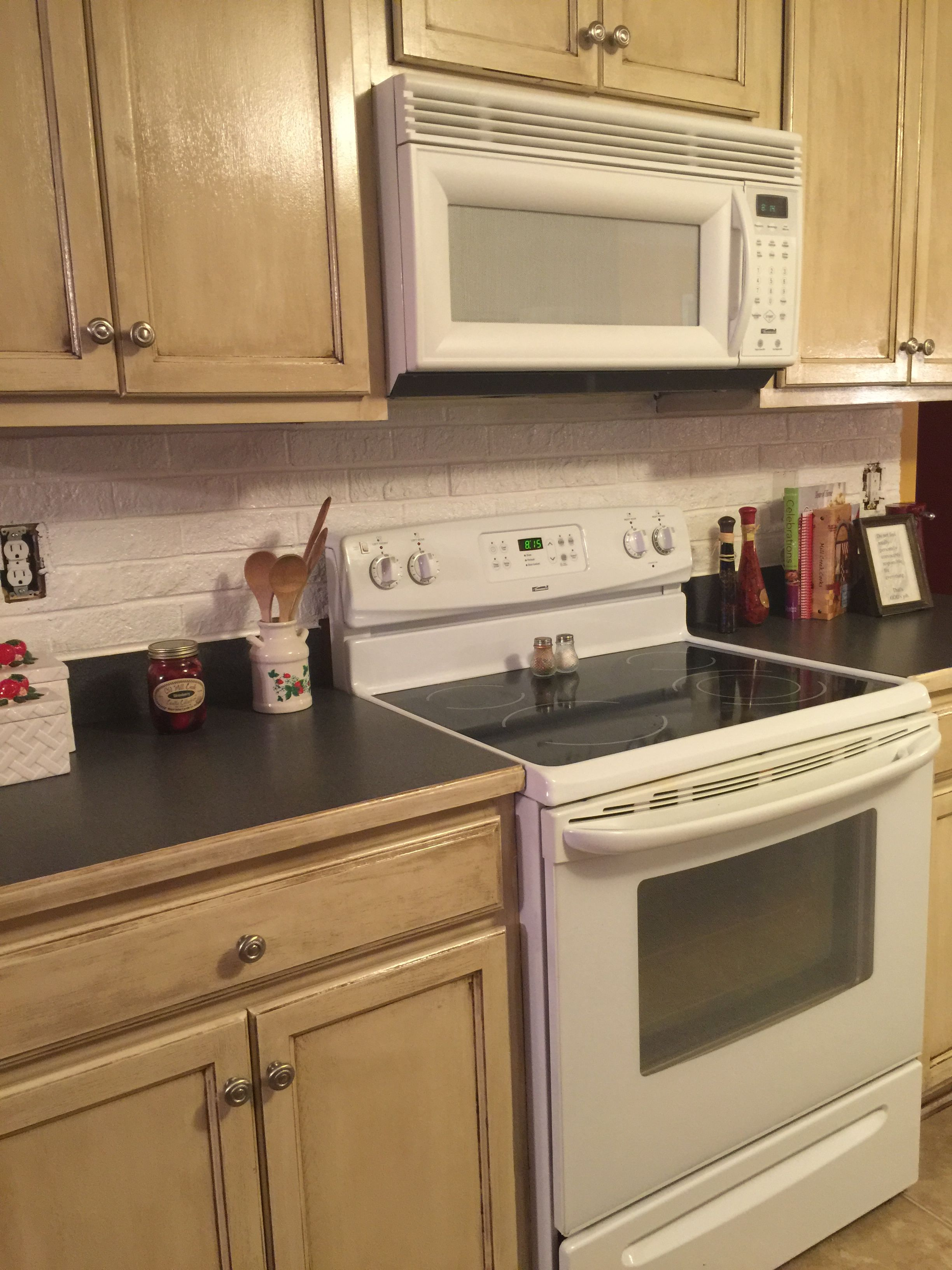 Kitchen Cabinets Painted Behr Antique White And Then Stained
