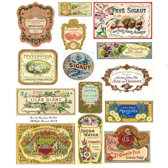 Vintage French Perfume Labels - Vintage Perfume Labels - French