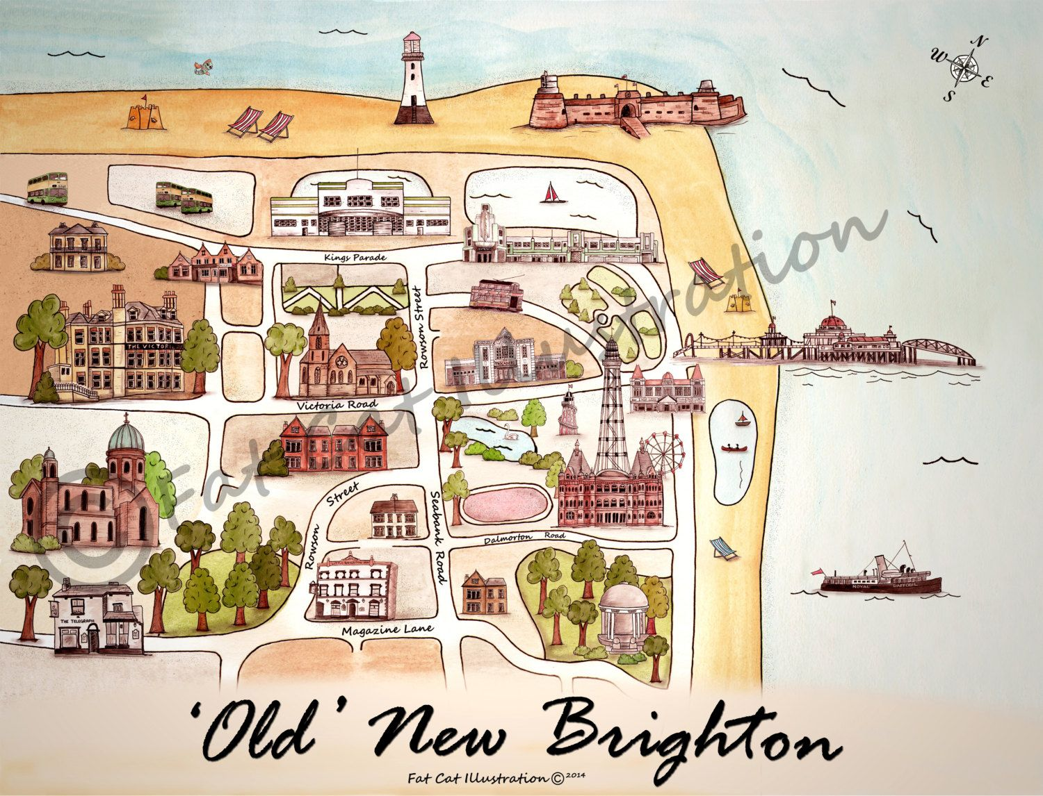 New brighton illustrated map old new brighton new brighton print a personal favourite from my etsy shop httpsetsyuk listing261855173illustrated old new brighton map a4 gumiabroncs Gallery