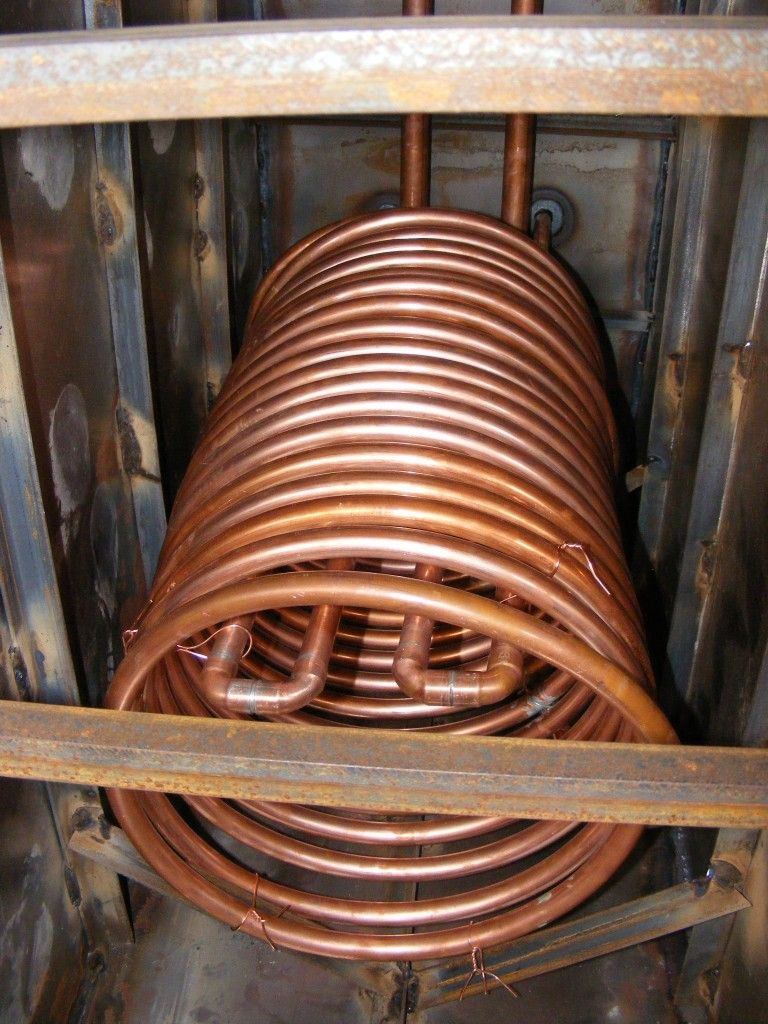 Copper coil heat exchanger for thermal storage tanks for Copper hot water tank