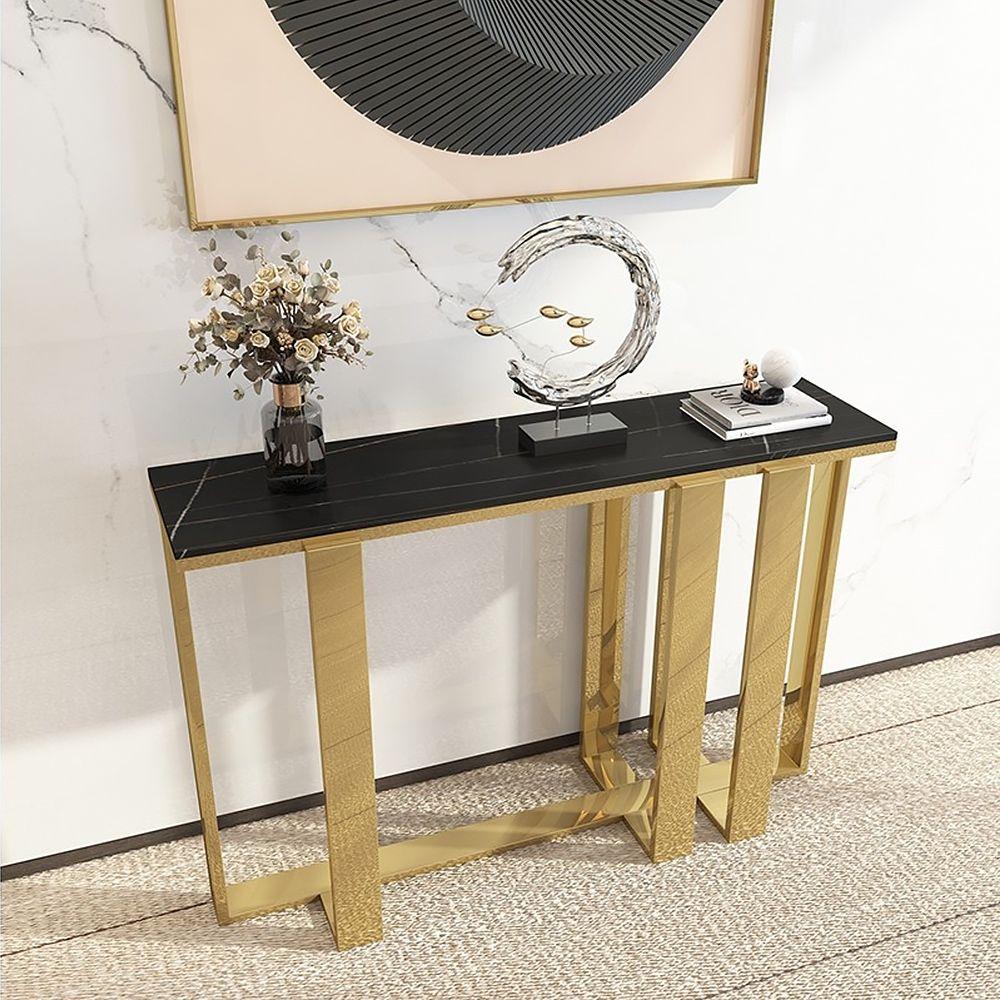 Modern Black Stone Narrow Console Table Rectangle Gold Finish In 2021 Narrow Console Table Console Table Hallway Table Decor