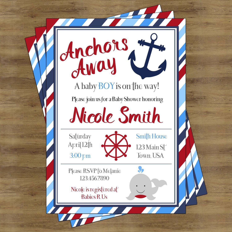 Nautical Baby Shower Invitation Boy Printable; Anchors Away Baby ...