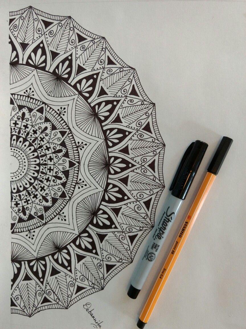 Half Mandala Mandala Drawing By Debannita Mandala Drawing In