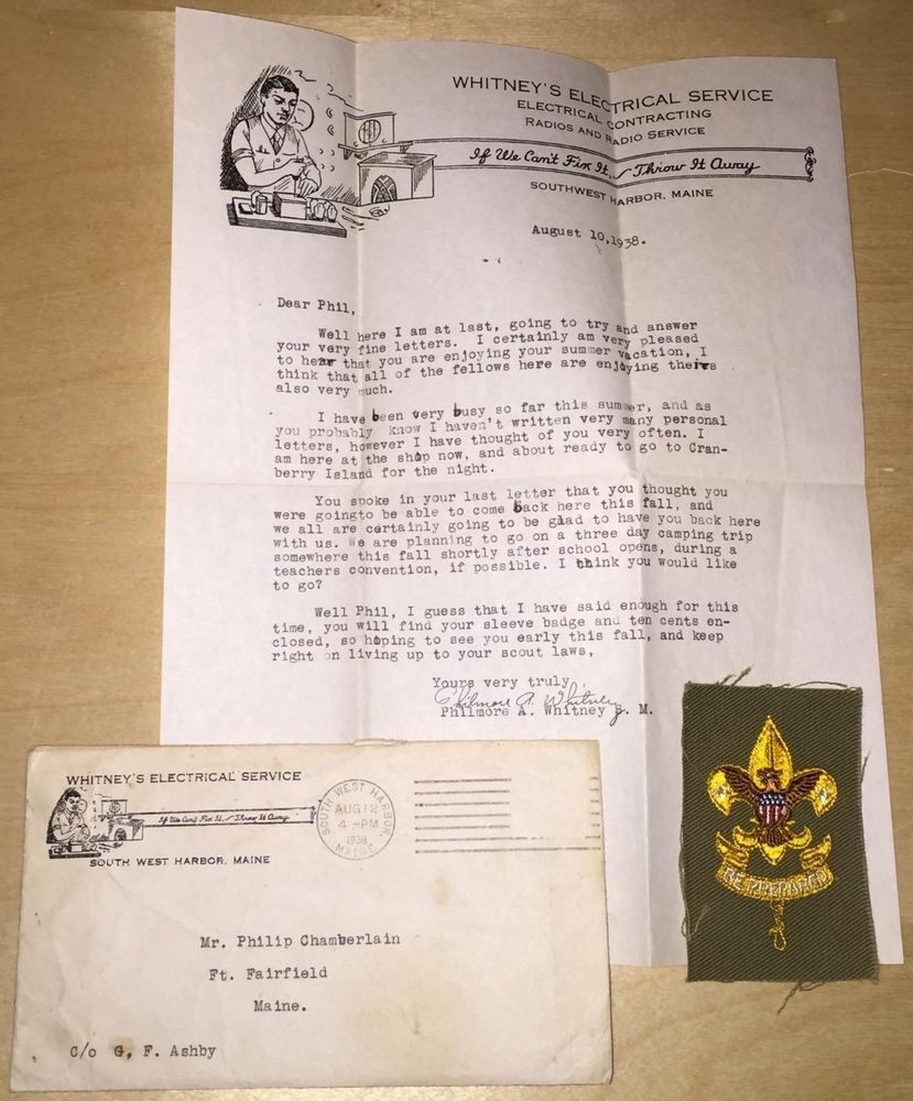 Vintage 1938 Boy Scout Patch Unused Sleeve Badge With Original Letter It Came In