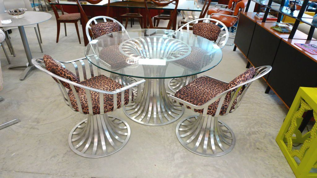 Russell Woodard Aluminum Breakfast Dining Table 4 Chairs 1960