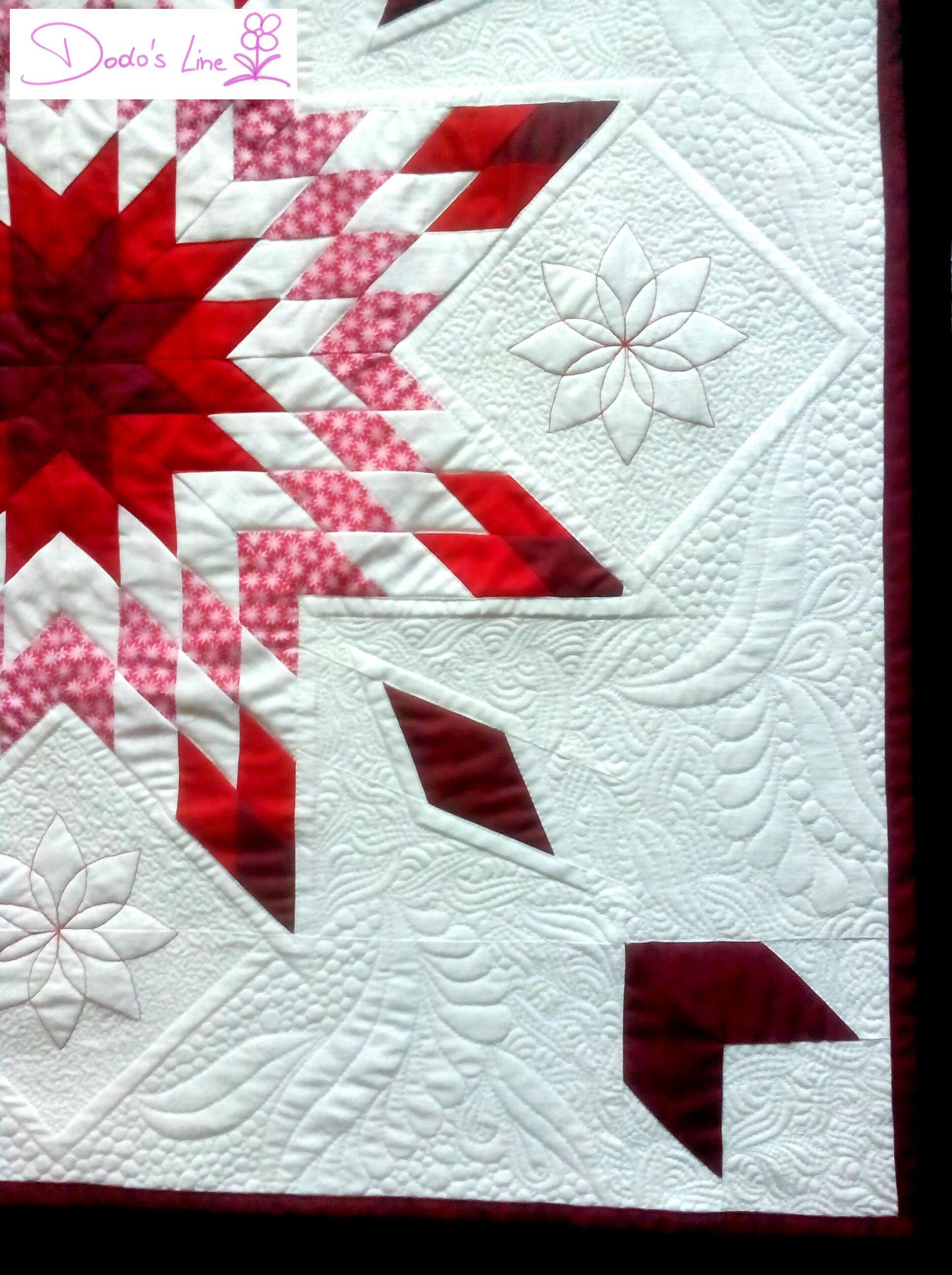 """Hallo an alle! :-)  Mein """"Rot-Weiß-Quilt"""" ist (m)ein (erster) Lone Star. Ein…"""