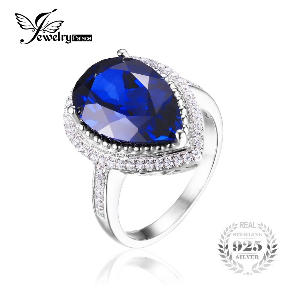 Charm 7ct Water Drop Cut Gemaakt Sapphire Ring Vrouwen Party Set Pure 925 Sterling Solid Silver Maat 6 7 8 9 Luxe Hot Koop