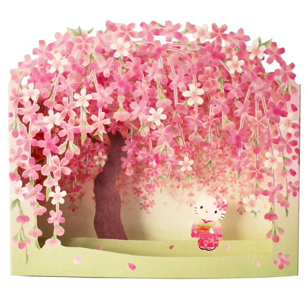 Hello Kitty W Cherry Blossom Pop Up Decorative Greeting Card