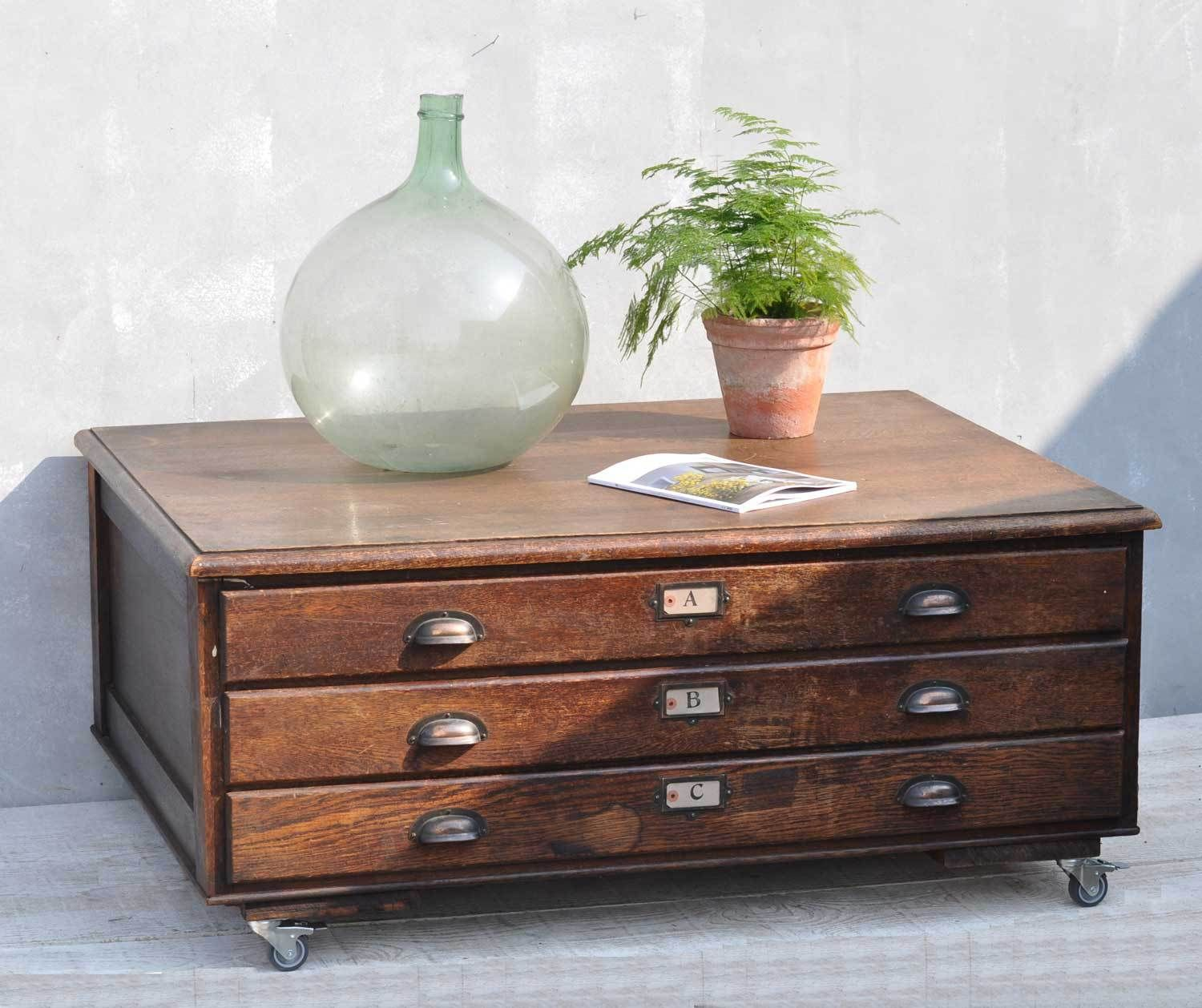 View all vintage interiors industrial and interiors chinoiserie vintage oak plan chest coffee table geotapseo Images