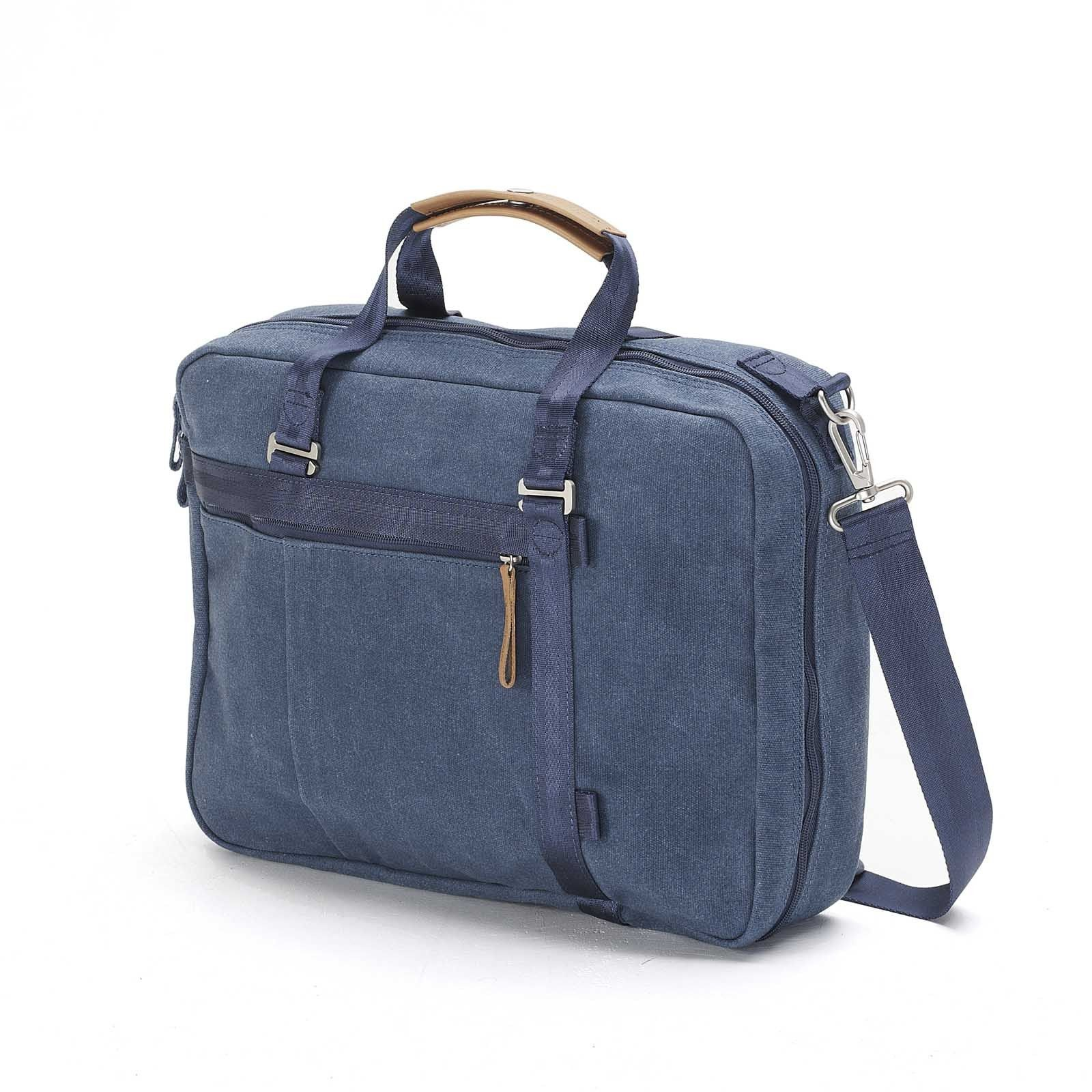 "QWSTION Office Tote in Pacific Navy - Whether you like it up or down or smart or serious, the officetote works in every situation.  The removable handles can be attached vertically or horizontally and the bag includes a 15"" laptop compartment with a neoprene protection sleeve.  This bag adapts to every situation, whether you are uptown or downtown."