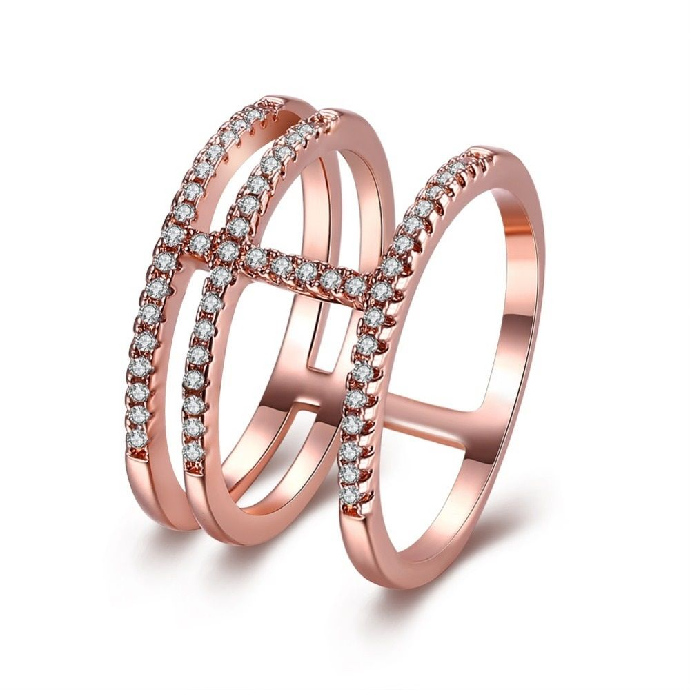 Thomas Exquisite Rose Gold Color And Silver Color Micro Zirconia Paved 3 Circles Cross Finger Rings Femme Bague Christmas Gifts