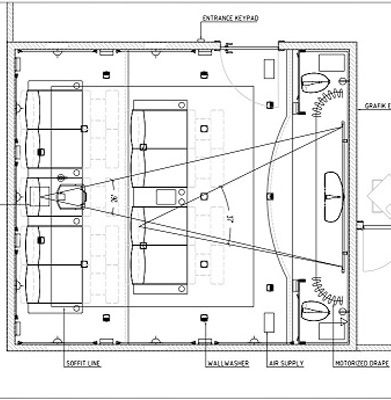 Home theater room floor plans home theater wall panel for Basement home theater plans