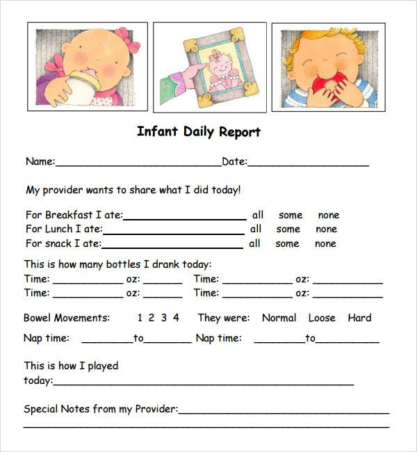 free daycare printables - Google Search BABY Pinterest - daily report templates
