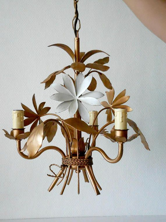 Lamp Tole Toleware Chandelier Decor Shabby Golden Country 0XZ8wOnPkN