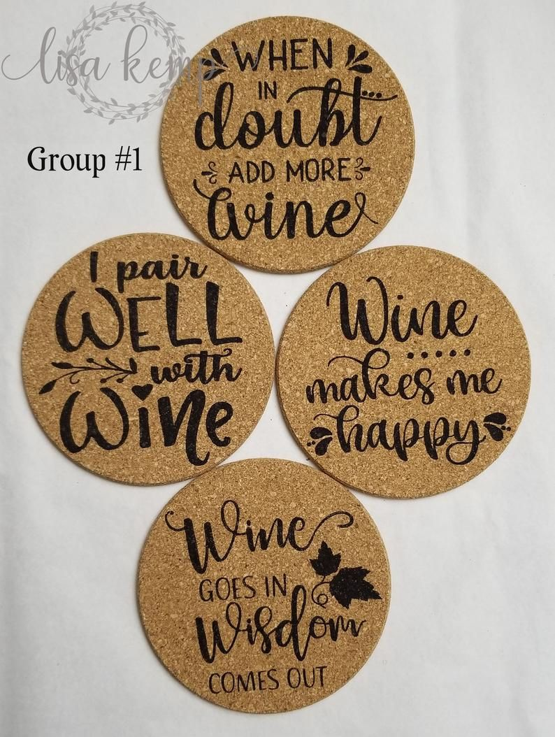 Cork Coasters With Wine Sayings Etsy In 2021 Cork Coasters Diy Coasters Wine Coasters