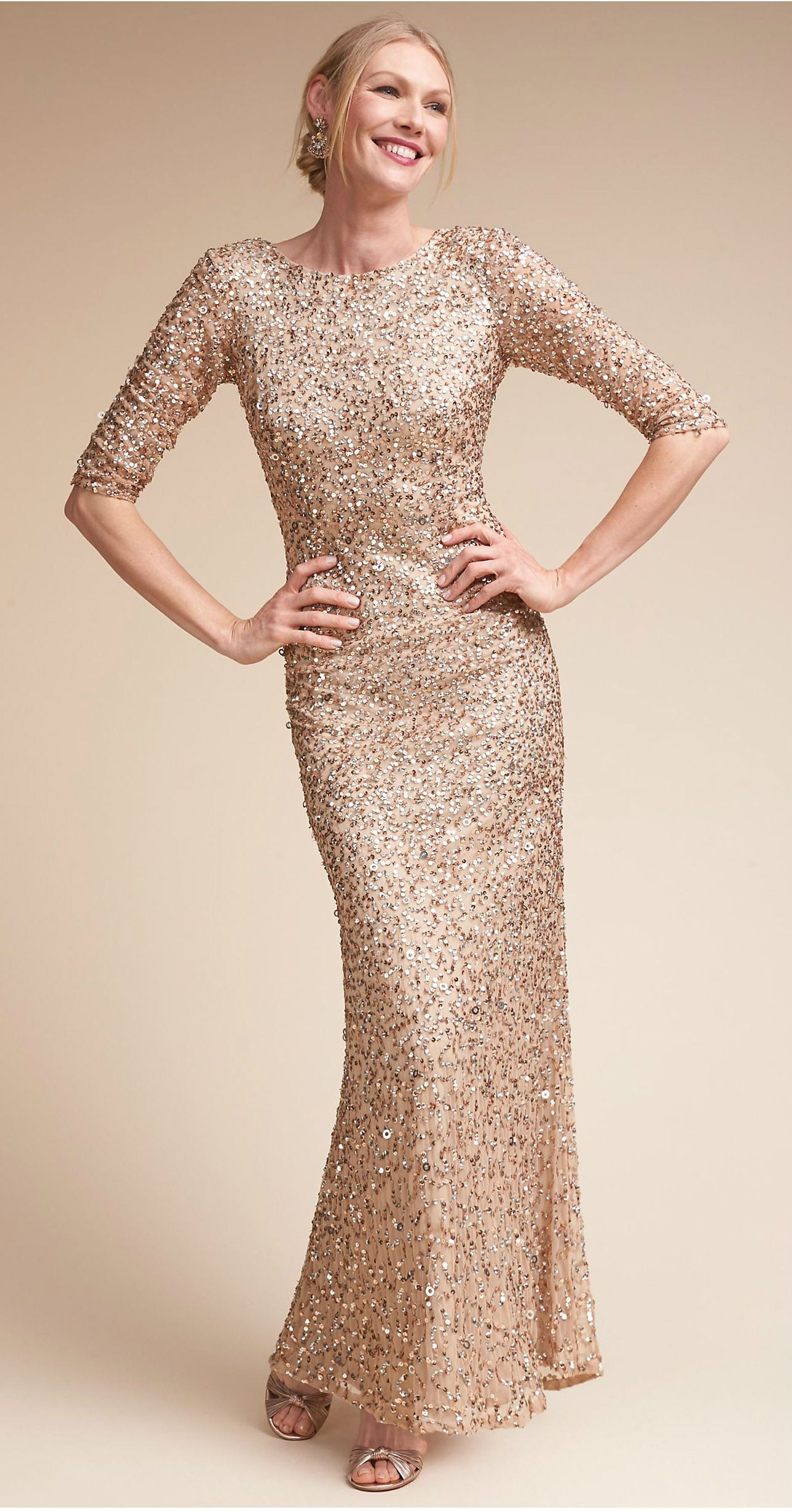 541e601f1833 A beautiful gold beaded Mother-of-the-Bride dress with sleeves! BHLDN Mother  of the Bride gowns. (affiliate)