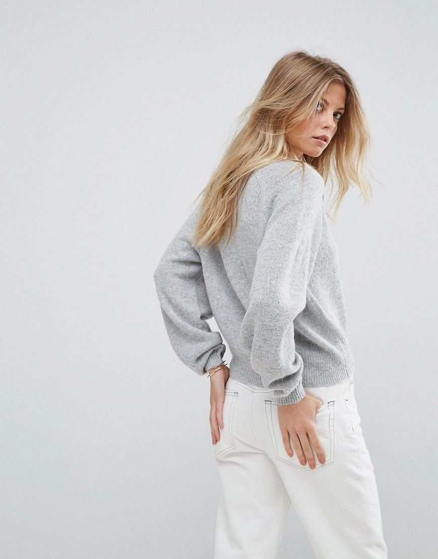 ASOS Cropped Sweater with V Neck in Mohair Blend - Cream | Products
