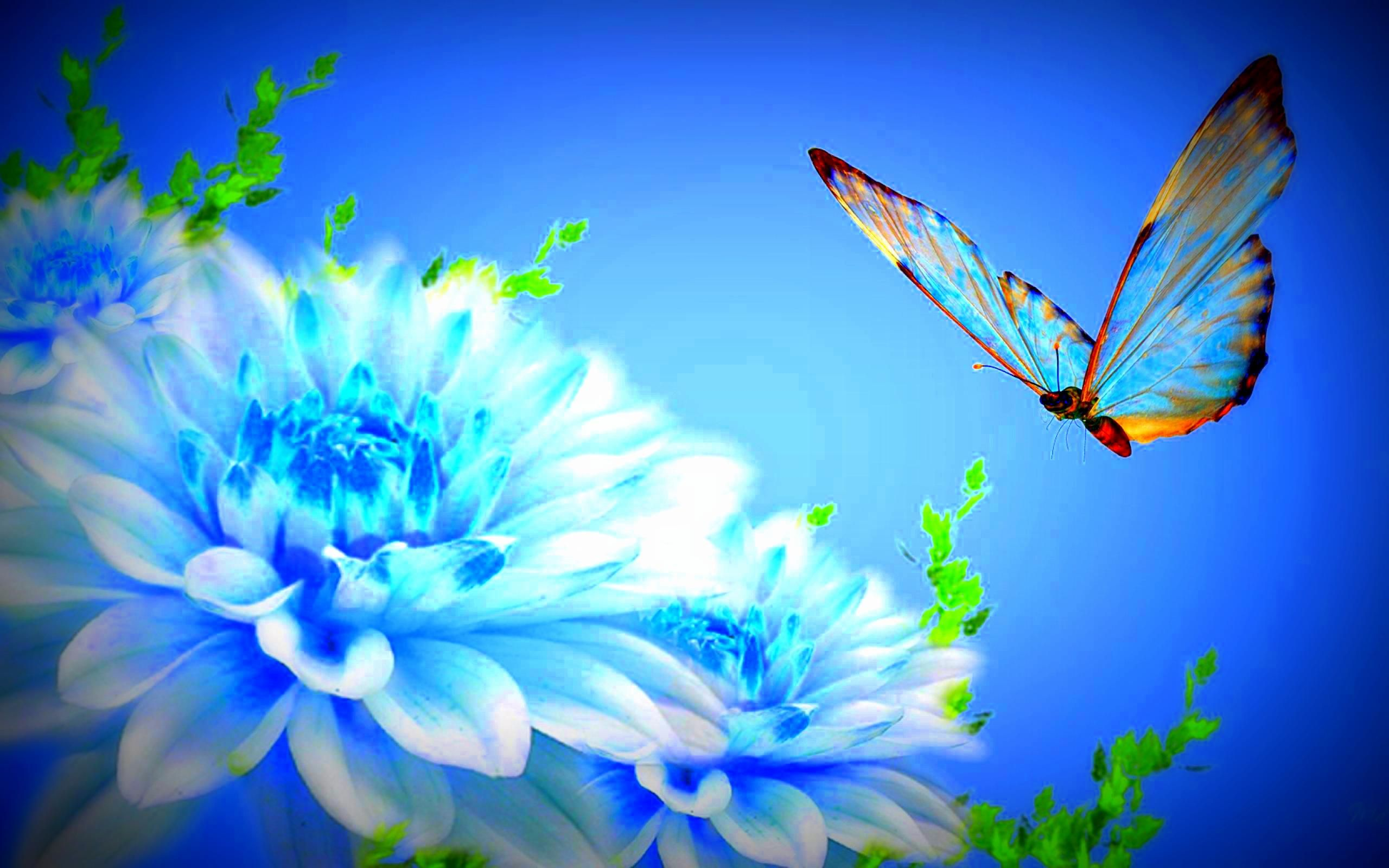 Wall4All Flapping wings on blue flowers lovely seasons