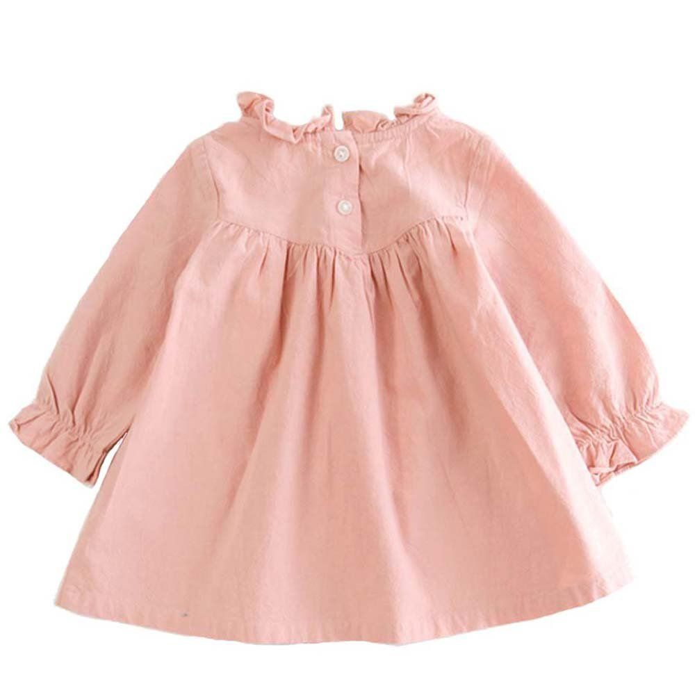 38bac6fd2 Amazon.com  VIYOO Children s Cotton Linen Long Sleeve Girl Dresses ...