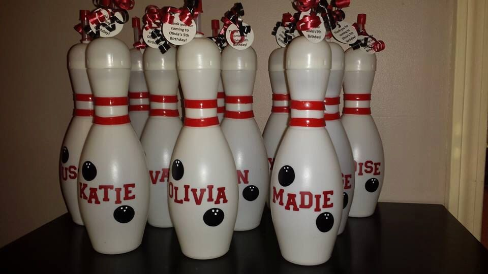 Bowling Pin Water Bottles water bottle red  stripes straw