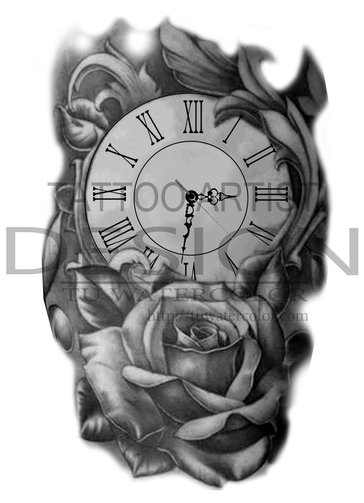clock rose design t watercolor oclock pinterest tattoos tattoo designs and p tattoo. Black Bedroom Furniture Sets. Home Design Ideas
