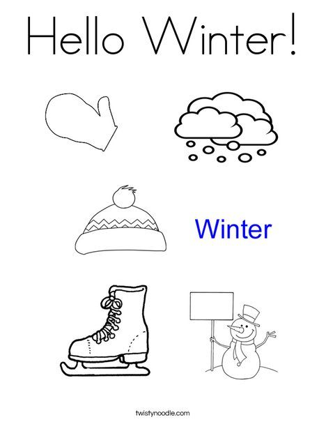 Hello Winter Coloring Page - Twisty Noodle  Hello winter