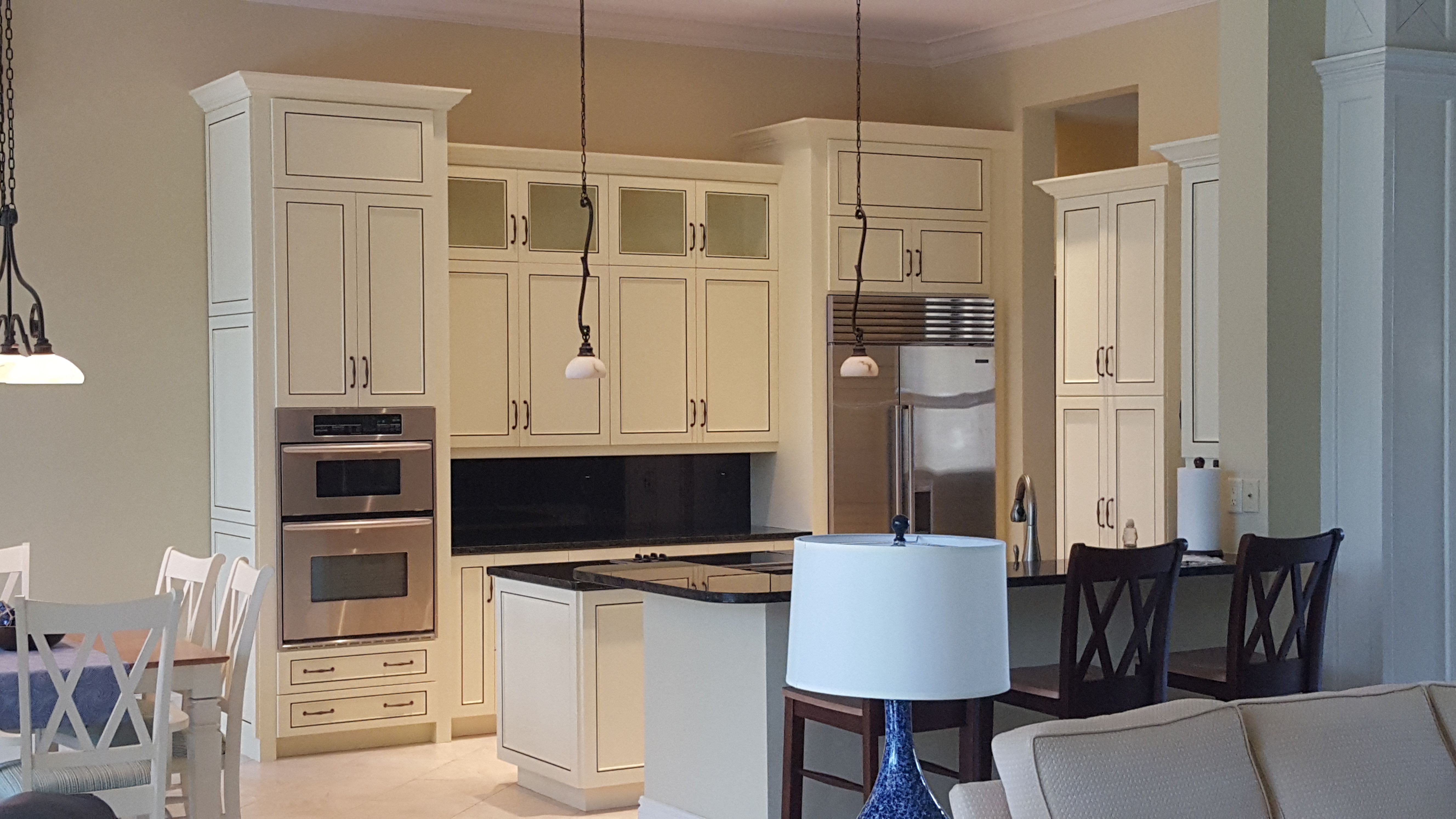 These Kitchen Cabinets Were Painted Then We Added An Accent Line On All The Doors In A Metallic Finish To M Painting Kitchen Cabinets Kitchen Cabinets Sanibel