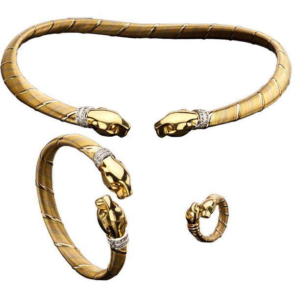 CARTIER Cougar TriGold Diamond Emerald Puma Jewelry Set 71170 BRL