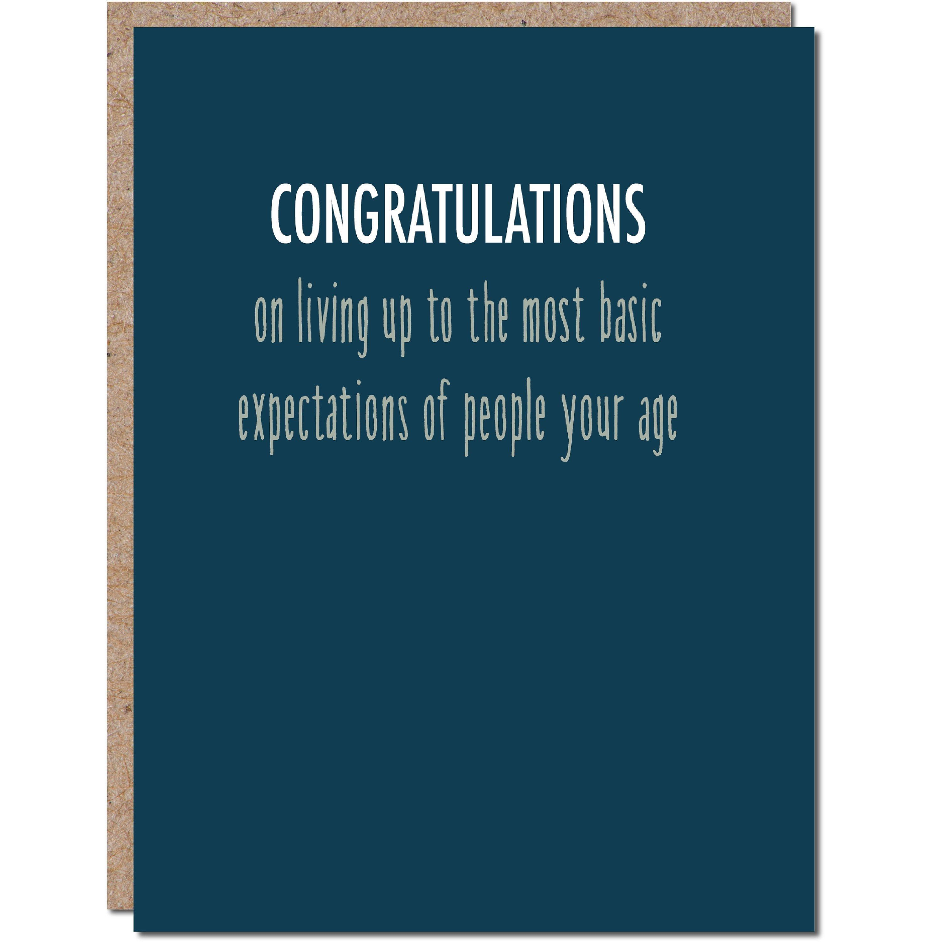 Congratulations On Living Up To The Basic Expectations Of Etsy Graduation Funny Funny Graduation Cards Congratulations Graduate