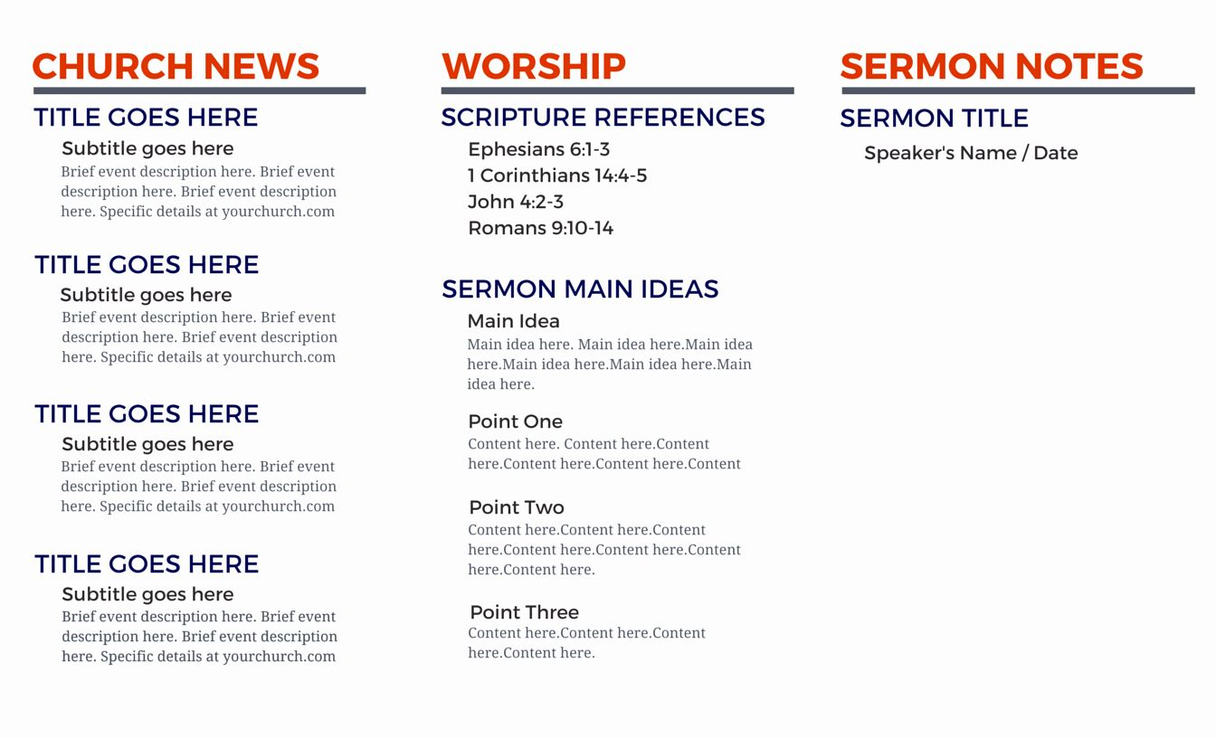 Pin On Printable Template Example Simple Free templates for church bulletins