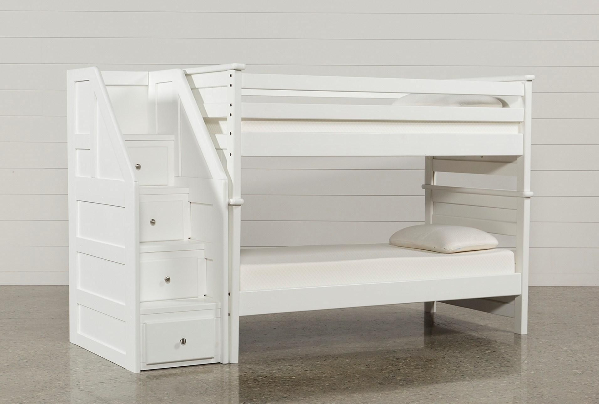 Loft bed with stairs and desk  Summit White Twin Over Twin Bunk Bed With Stairway Chest  Bunk bed