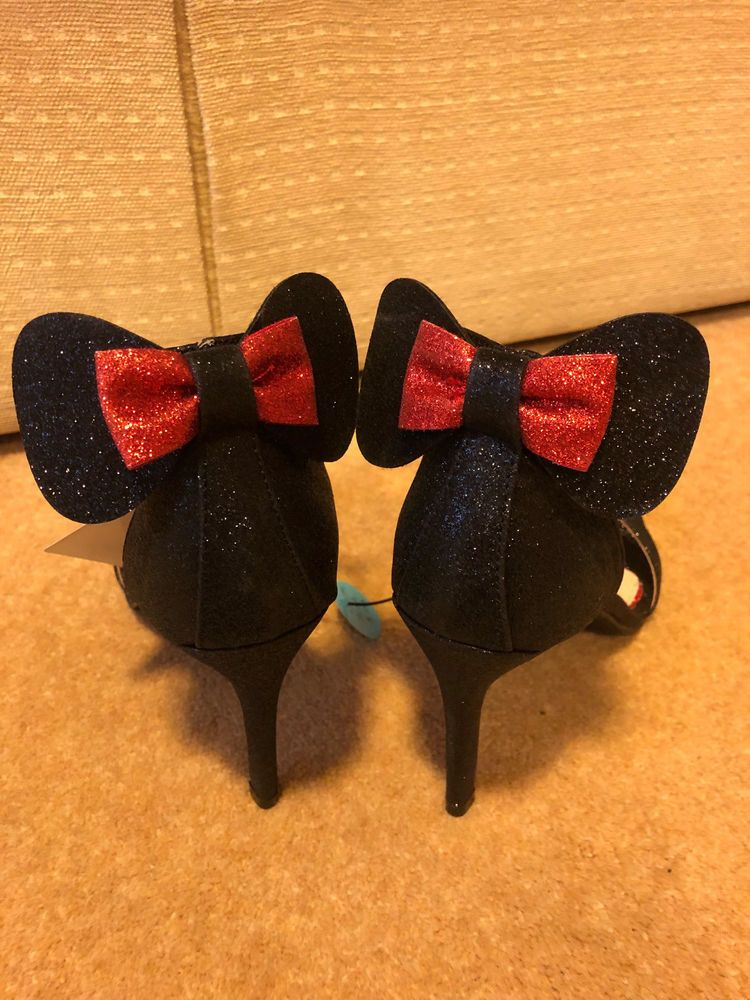 472a10e6f6d Disney Primark Minnie Mouse Black Glitter High Heel Red Bow Shoes in ...