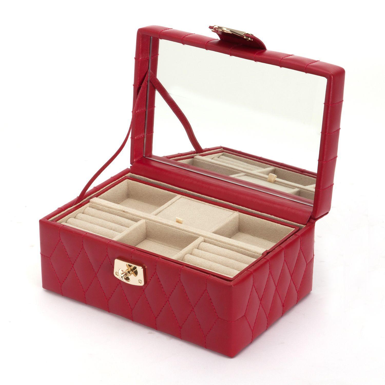 Wolf Caroline Small Leather Jewelry Box Cream Beige OffWhite