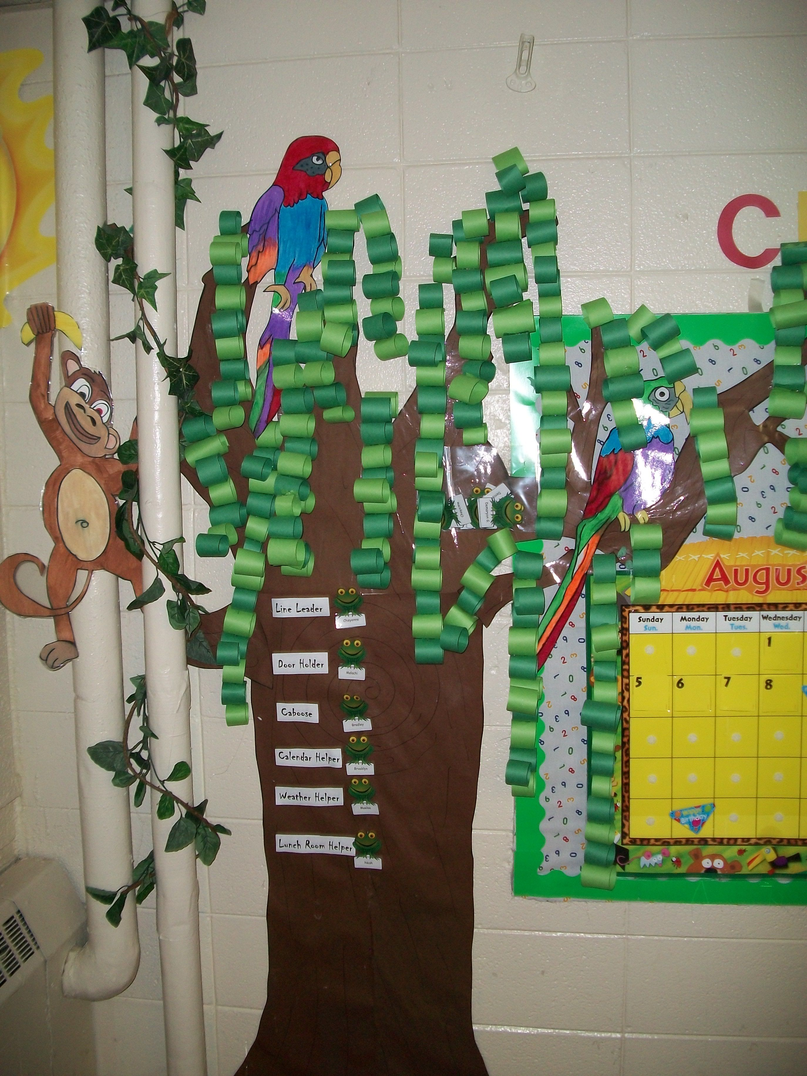 Classroom Decoration Jungle : Jungle tree for our classroom make paper chain to count