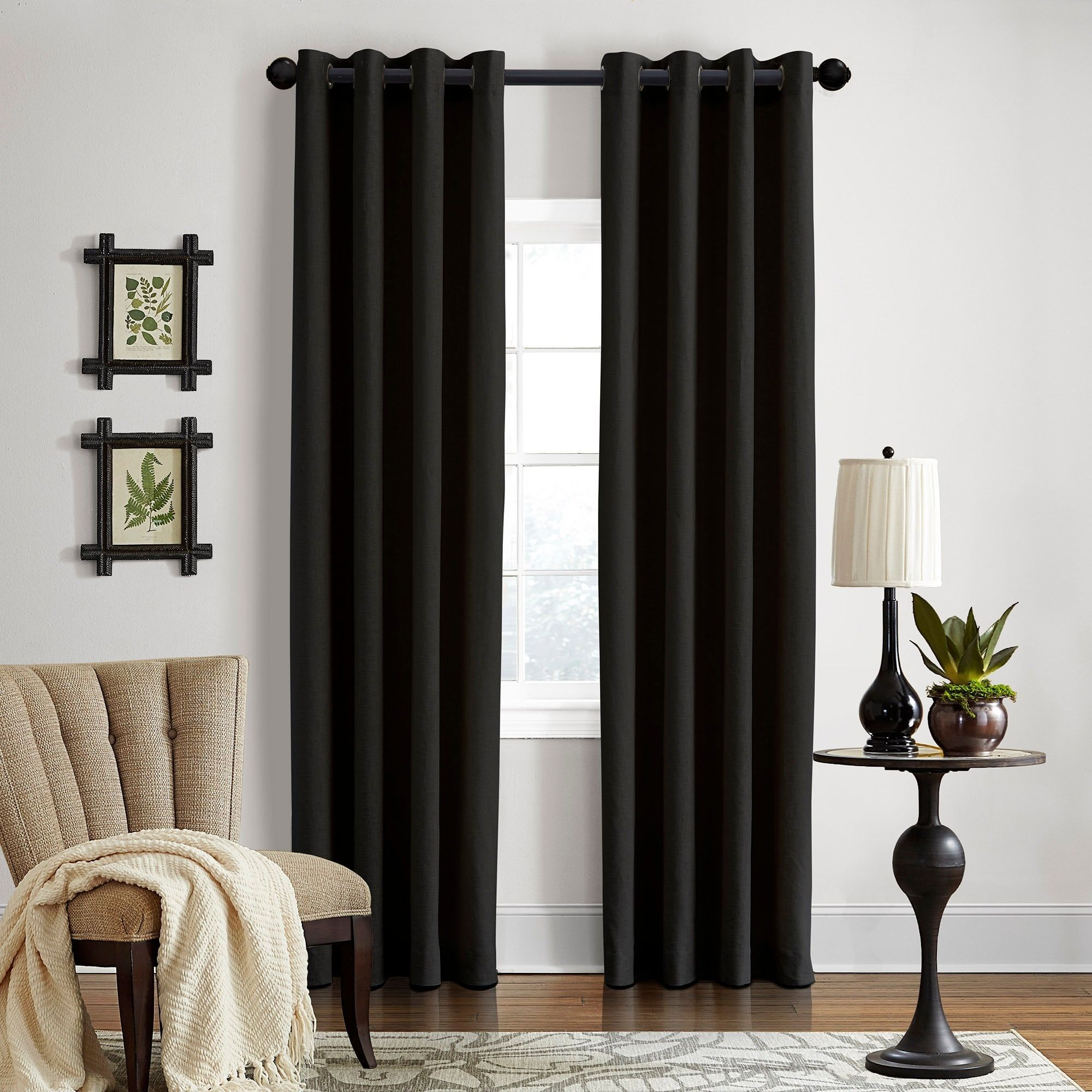 Grand Luxe Linen Gotham Black Grommet Curtain Panel 108 Black